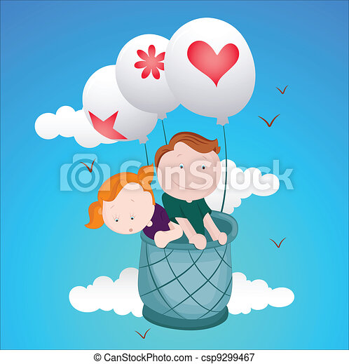 Kids Flying on Air Balloon - csp9299467