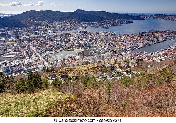 View over Bergen taken from the popular landmark Fløyen. - csp9299571