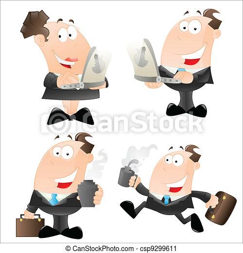 caricatura, oficina, empleados,  vector - csp9299611