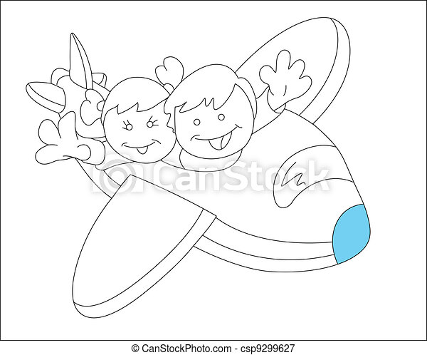 happy kids in plane sketch csp9299627 - Drawing Sketch For Kids