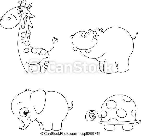 Vector Of Outlined Cute Animals Outlined Cute Animal Set