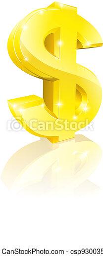 Gold dollar sign - csp9300353