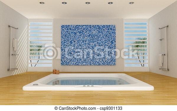 zeichnungen von modern luxus badezimmer mit gro badewanne und csp9301133 suchen sie. Black Bedroom Furniture Sets. Home Design Ideas