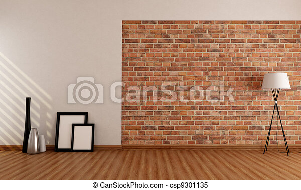 Empty room with brick wall - csp9301135