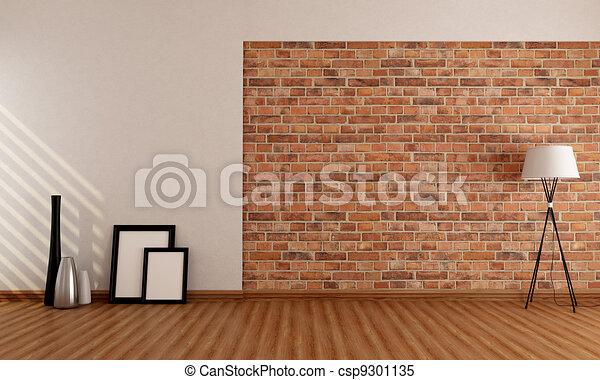 Empty room with brick wall - csp9301135