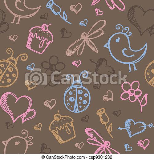 romantic seamless pattern - csp9301232