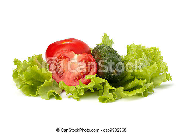 Tomato, cucumber vegetable and lettuce salad - csp9302368