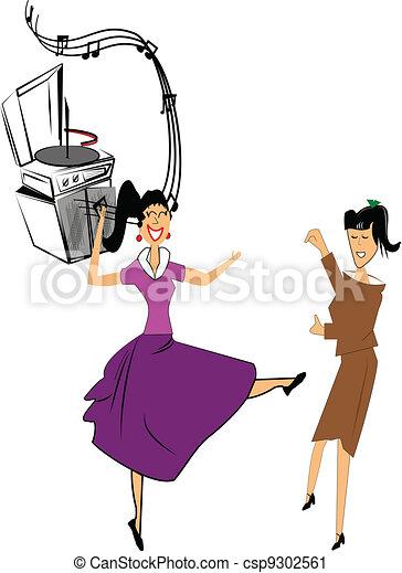 two teen girls dancing - csp9302561