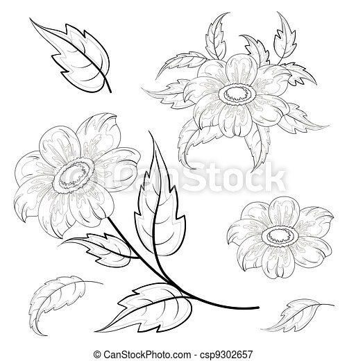 Dahlia Flowers Drawing Flowers And Leaves Dahlia