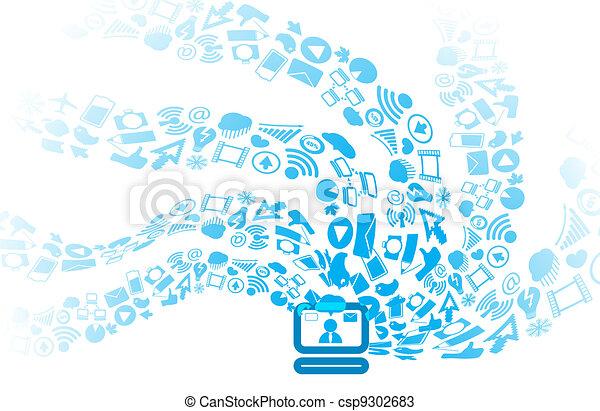 Modern social media icons flows to computer - csp9302683