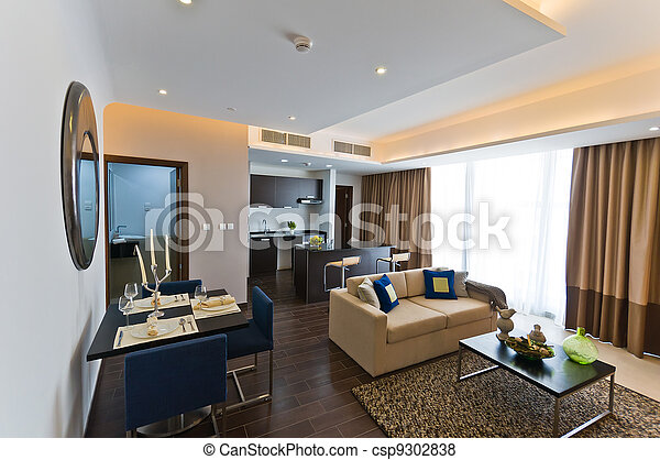 Interior of modern apartment - kitchen and lounge.NEF - csp9302838