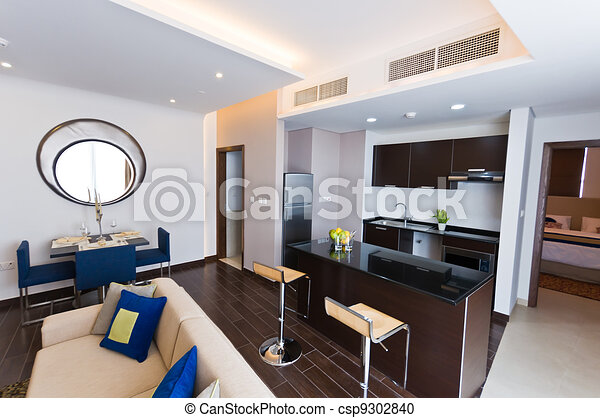 Interior of modern apartment - kitchen and lounge - csp9302840