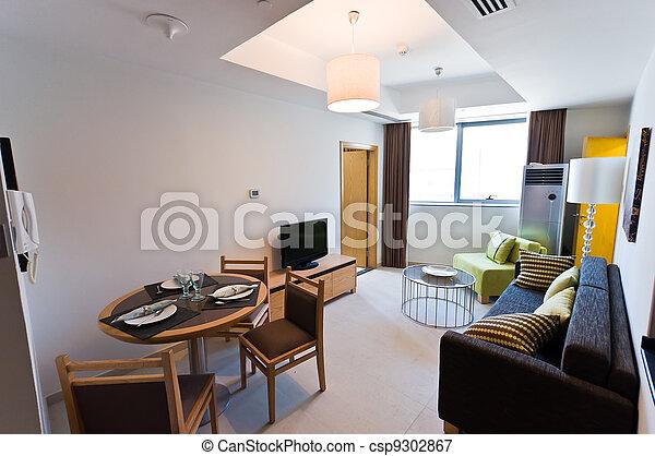 stock foto inneneinrichtung von modern wohnung klein aufenthaltsraum stock bilder. Black Bedroom Furniture Sets. Home Design Ideas