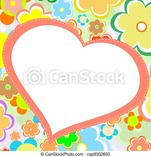 beautiful bright flower heart. vector card - csp9302893