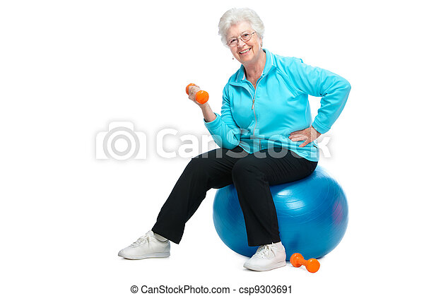 Senior woman working with weights in gym - csp9303691