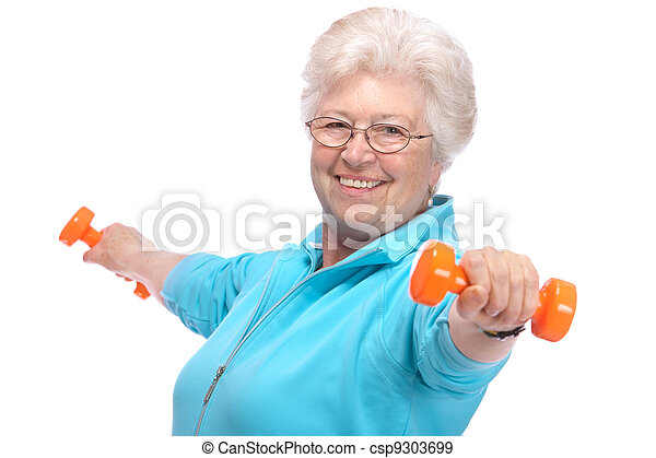 Senior woman working with weights in gym - csp9303699