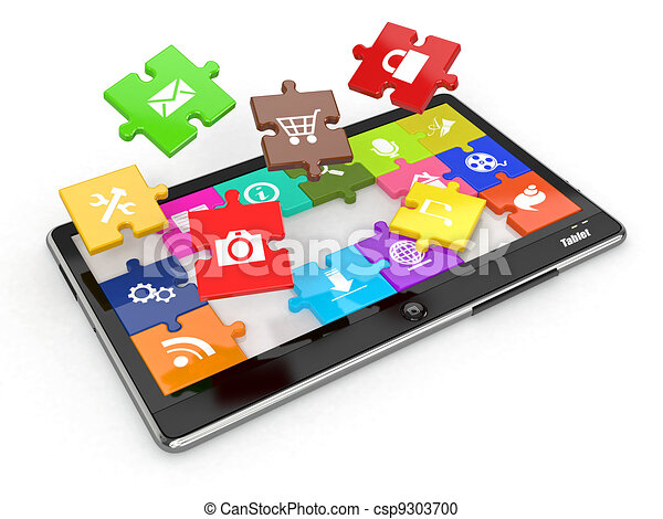 Tablet pc software. Screen from puzzle with icons. - csp9303700