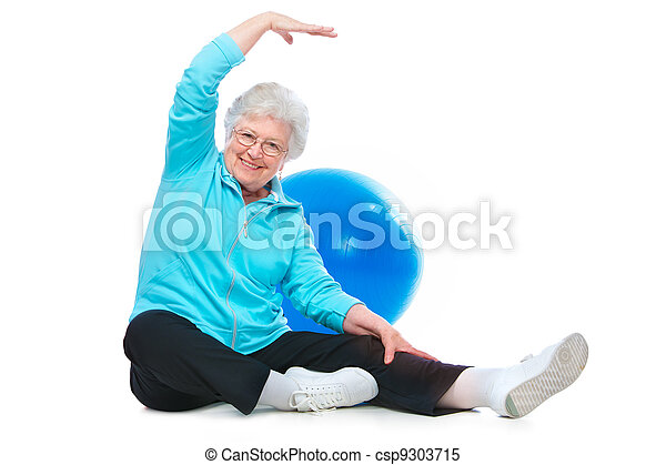 senior woman doing stretching exercises - csp9303715