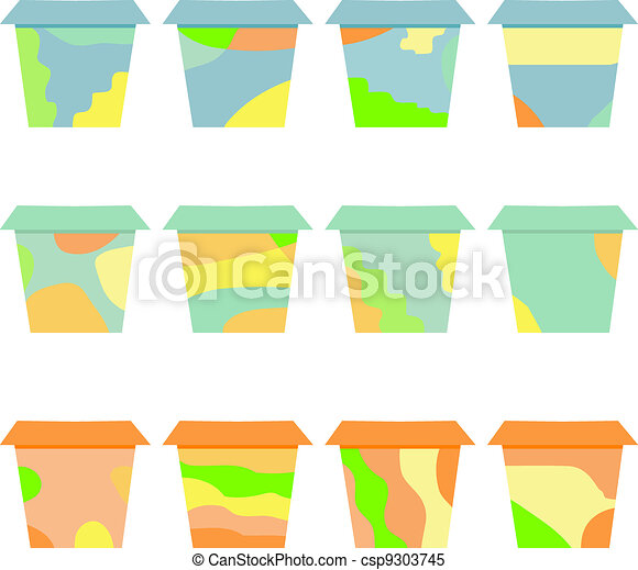 set of decorative flower vintage pots - csp9303745
