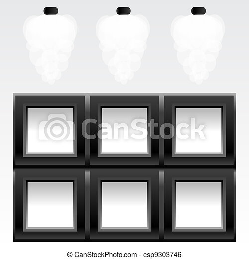 empty six frames on wall with light, vector - csp9303746