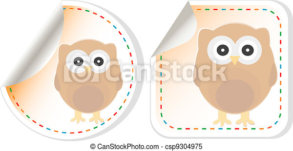cute owl scrapbooking elements sticker - csp9304975