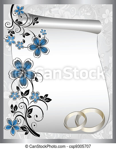 Wedding card with a floral pattern - csp9305707