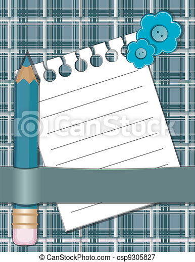 Pencil and paper for notes. - csp9305827