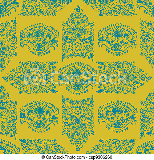 Cambodian floral pattern - csp9306260