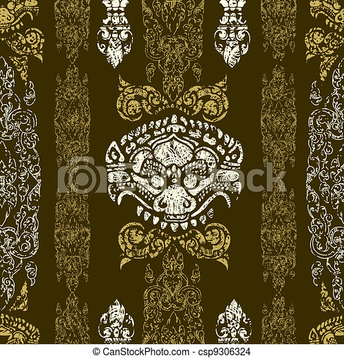 Cambodian floral pattern - csp9306324