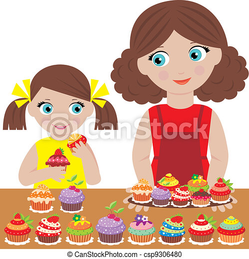 Mother with the daughter bake cupca - csp9306480