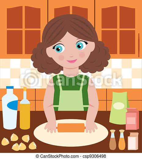 Woman prepares dough - csp9306498