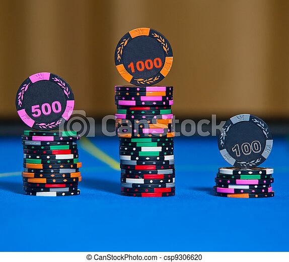 Gambling chips on casino table - csp9306620