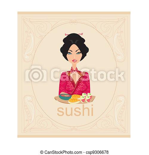 beautiful Asian girl enjoy sushi - csp9306678