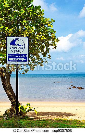 Tsunami Evacuation Route Sign - csp9307508