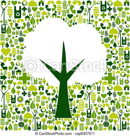 Eco tree symbol with green icons - csp9307511