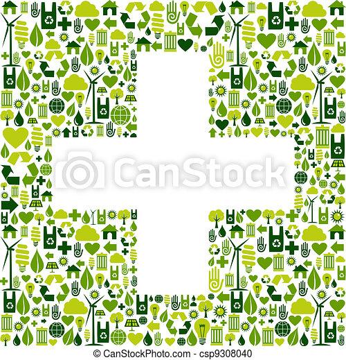 Plus symbol with environmental icons - csp9308040