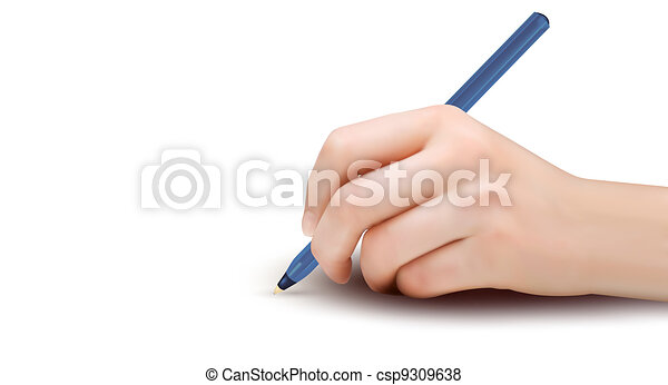 Hand with pen writing on paper. - csp9309638
