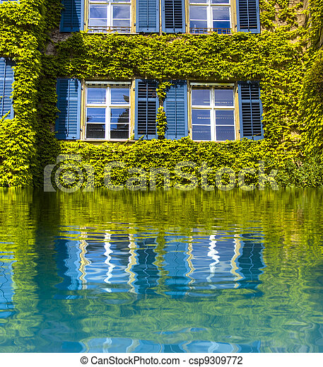 Environment concept, green house with reflection in water - csp9309772