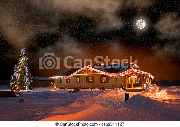 The house in village in Christmas night - csp9311127