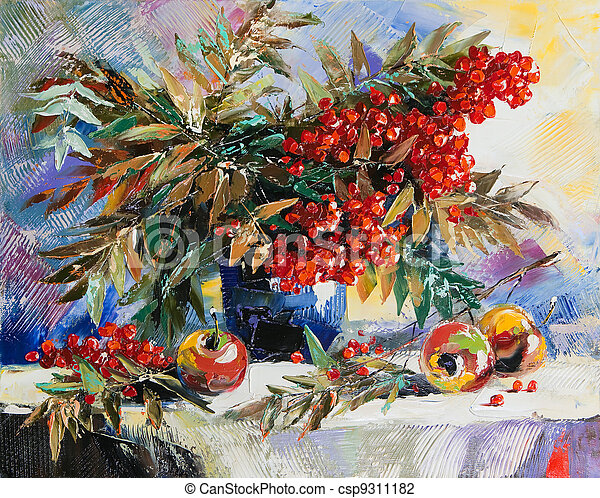 Still-life with a mountain ash and apples - csp9311182