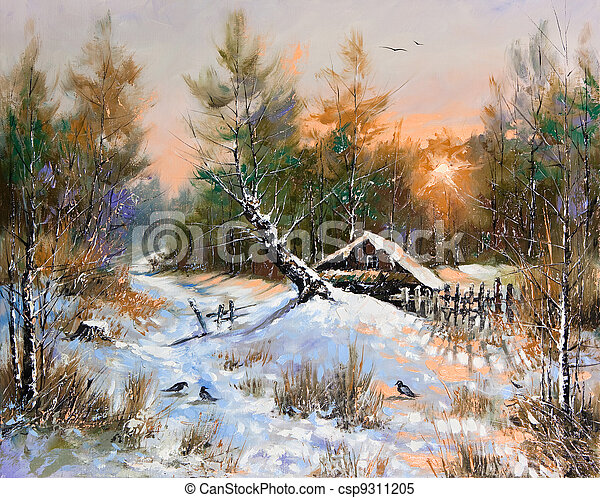 Rural winter landscape - csp9311205