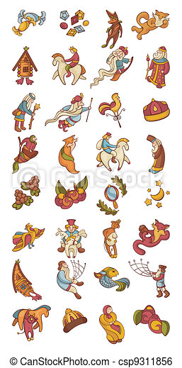 set of fairytale characters and items - csp9311856