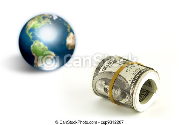 Dollar and eartth (Elements of this image furnished by NASA) - csp9312207