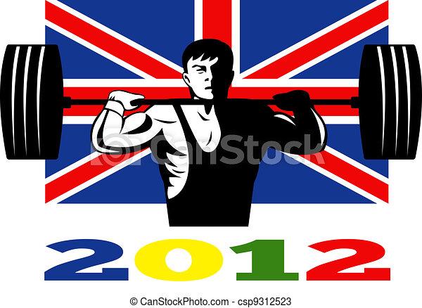 Games 2012 Weightlifting Retro British Flag - csp9312523