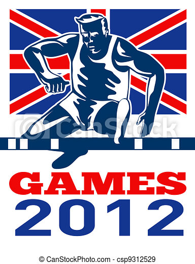 Games 2012 Track and Field Hurdles British Flag - csp9312529