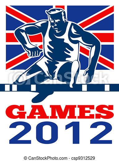 Games 2012 Track and Field Hurdles British Flag - csp9312529