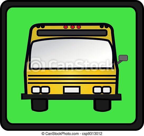 Clip Art of School Bus - Illustration of the front of a ...