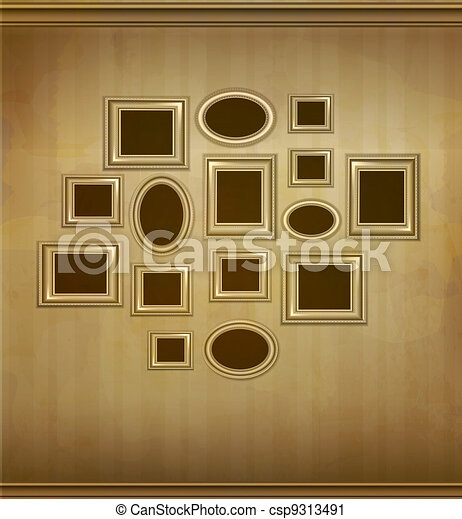 stock illustration vintage picture frames hanging on the wall