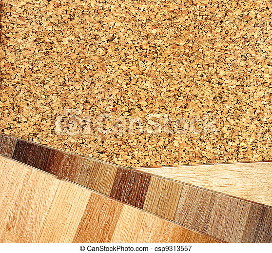 Oak parquet and cork flooring texture - csp9313557