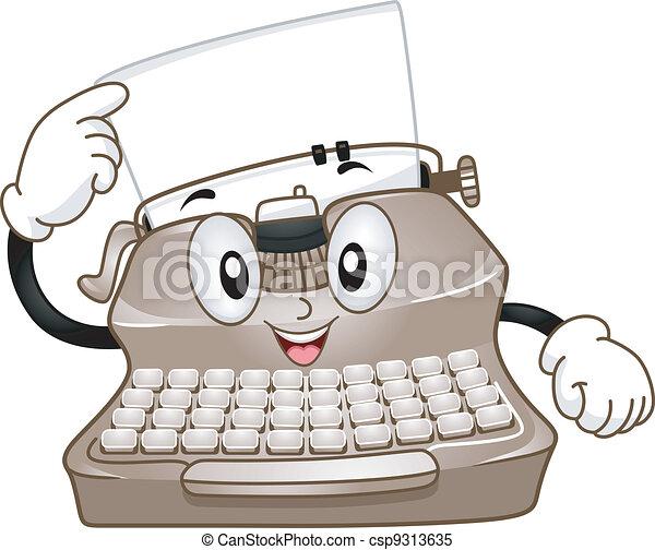 Typewriter Mascot - csp9313635